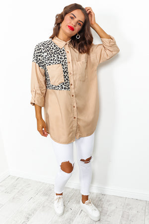 Beige Leopard Print Patch Denim Shirt