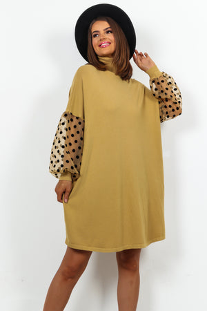 Beige Mesh Sleeve Roll Neck Knitted Dress
