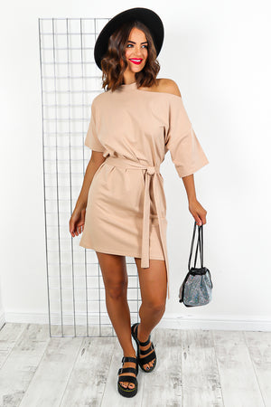 Beige Tie Belt Off The Shoulder Mini Dress