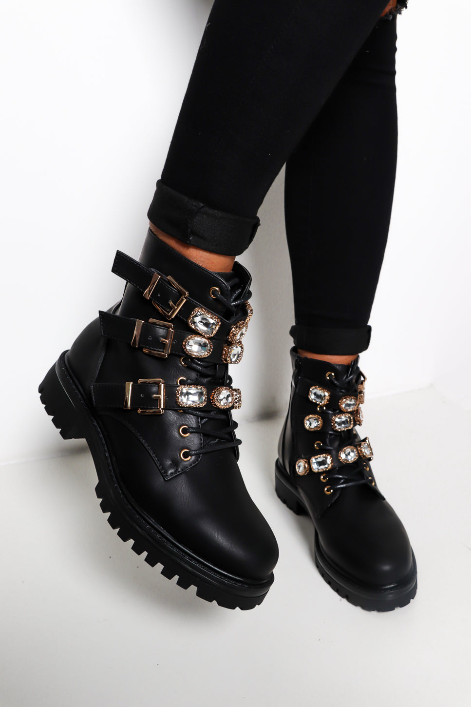 Bejeweled - Black Lace Up Boot