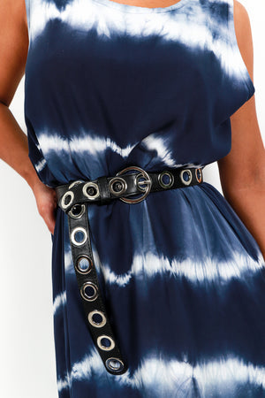 Belt Multiple Hole Black Silver- DLSB Women's Fashion