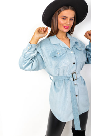 Belt It Out - Blue Corduroy Shirt