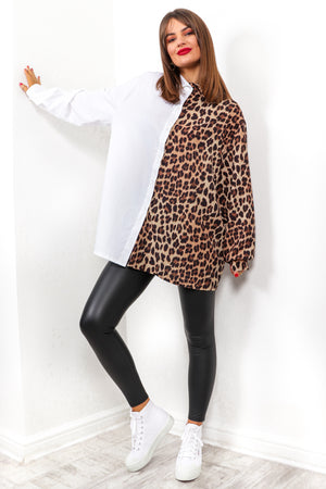 Better Half - White Leopard Spliced Shirt