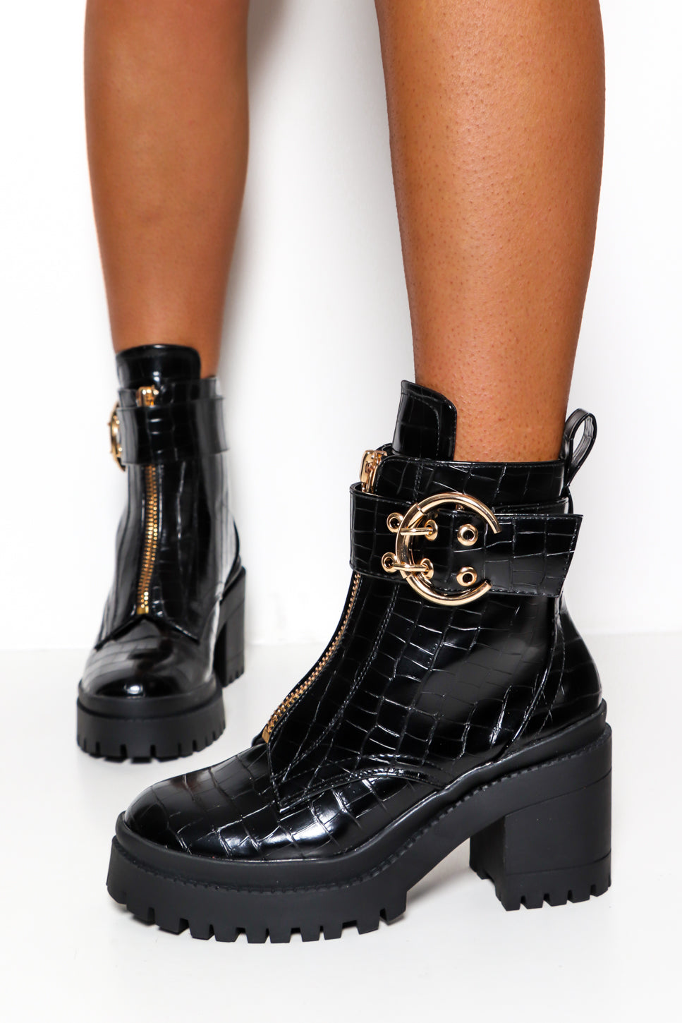 Big Time Crush - Black Croc Gold Detail Chunky Boot