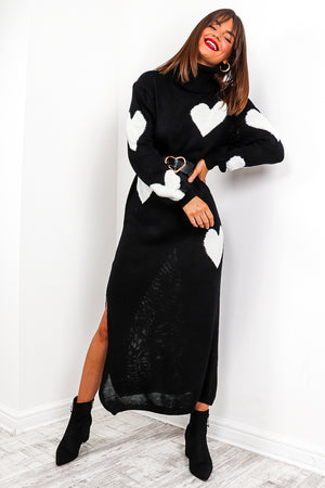 Big Time Love - Black Heart Knitted Maxi Dress