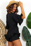 Black Frill Detail Playsuit DLSB Womens Fashion