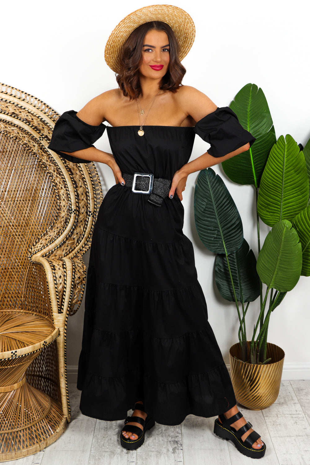 Black Tiered Maxi Dress DLSB Womens Fashion