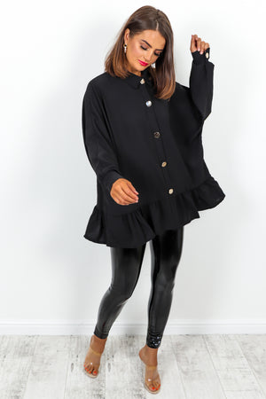 Black Blouse With Gold Buttons