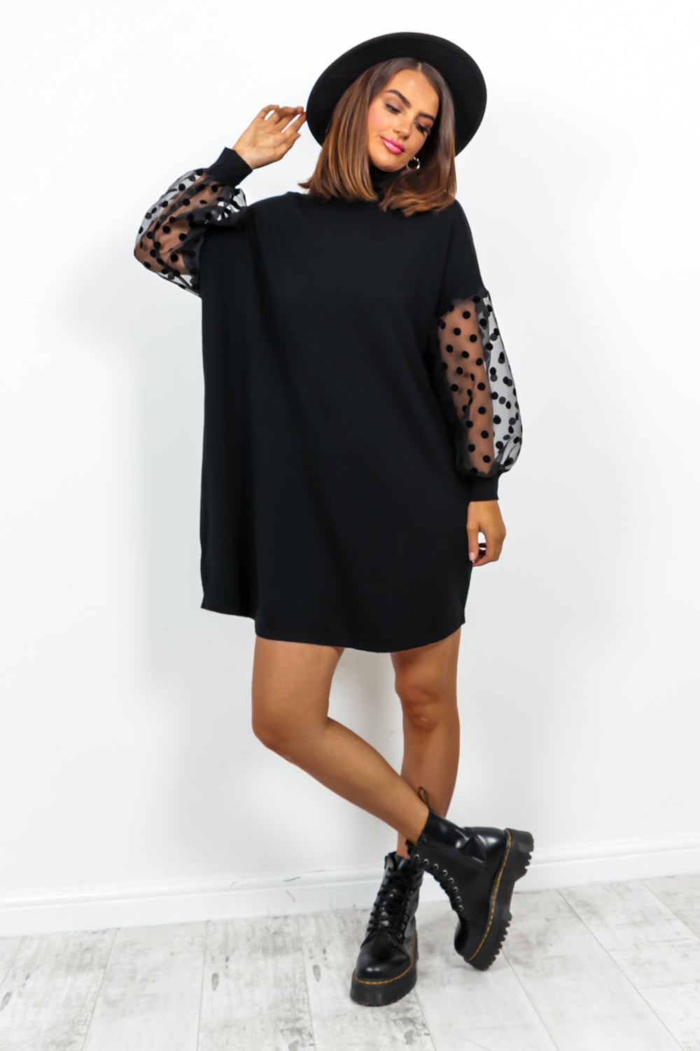 Black Mesh Polka Dot Sleeve Roll Neck Knitted Dress