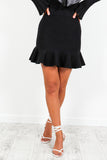 Black Peplum Frill Hem Mini Skirt