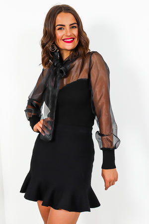 Black Tie Bow Mesh Knit Jumper