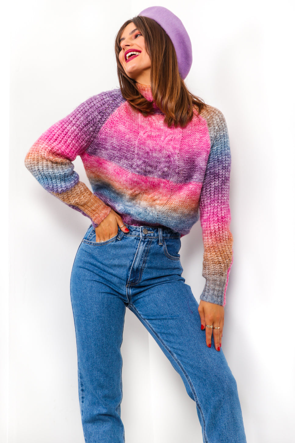 Blend In - Multi Bright Cable Knit Jumper