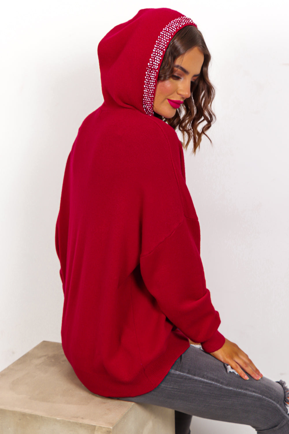 Bling It Back - Red Rhinestone Knitted Hoodie