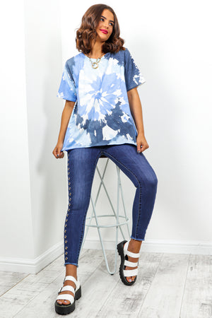 Blue Navy Tie Dye T-Shirt DLSB Womens Fashion