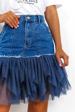 Blue Demin Mini Skirt With Blue Mesh Frill DLSB Womens Fashion