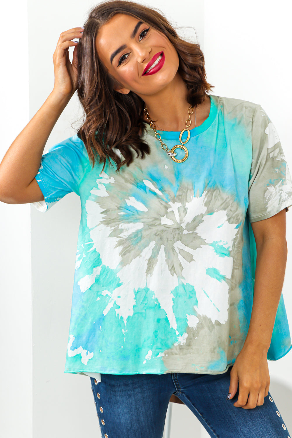 Blue Green Tie Dye T-Shirt DLSB Womens Fashion