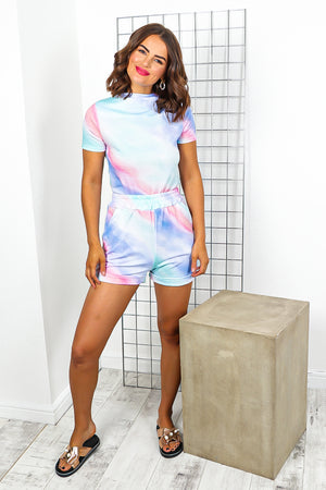 Blue Tie Dye Top And Short Coordinate Set