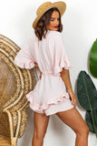 Blush Frill Detail Playsuit DLSB Womens Fashion