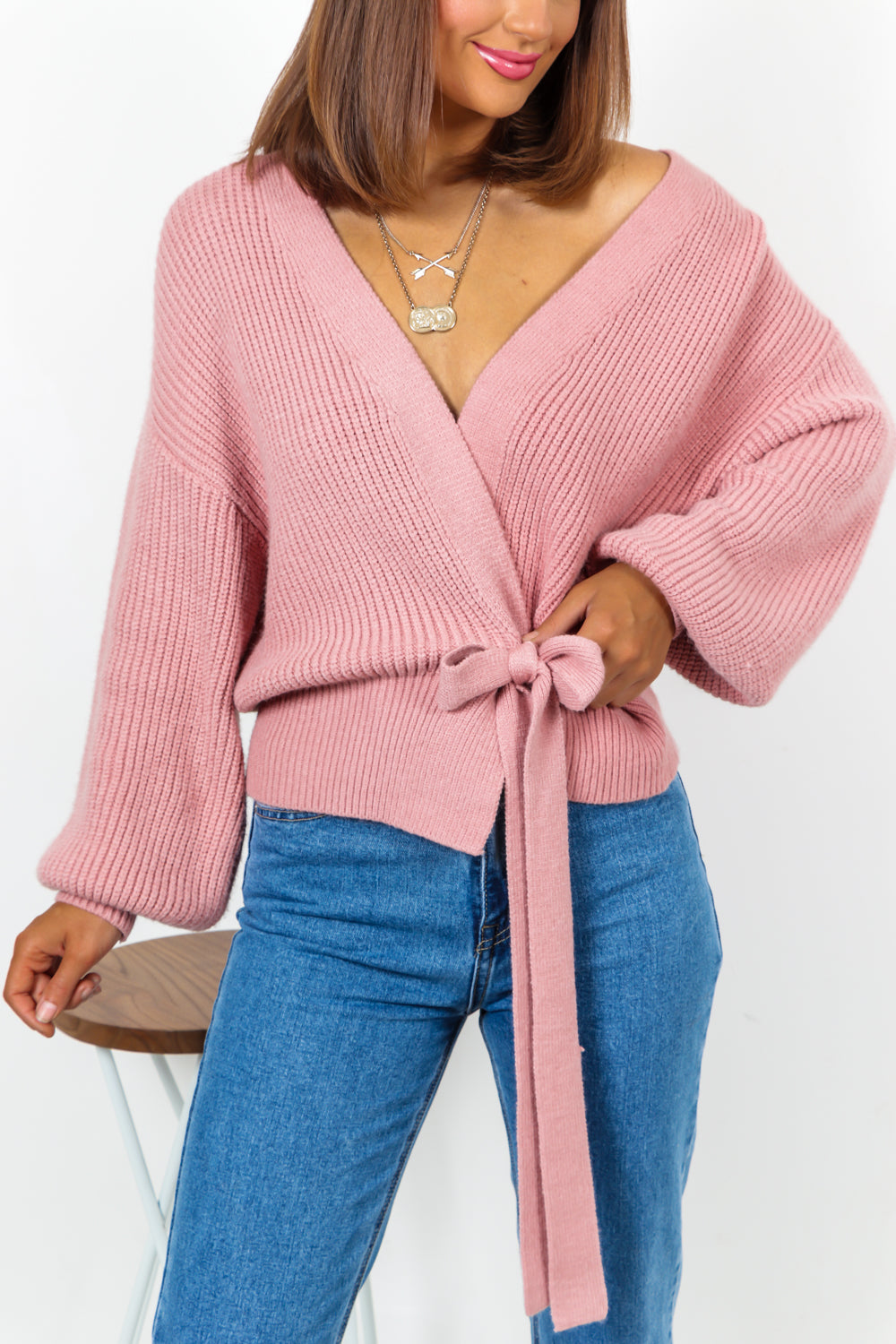 Blush Cropped Knitted Cardigan