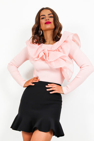 Blush Pink Mesh Ruffle Knit Jumper