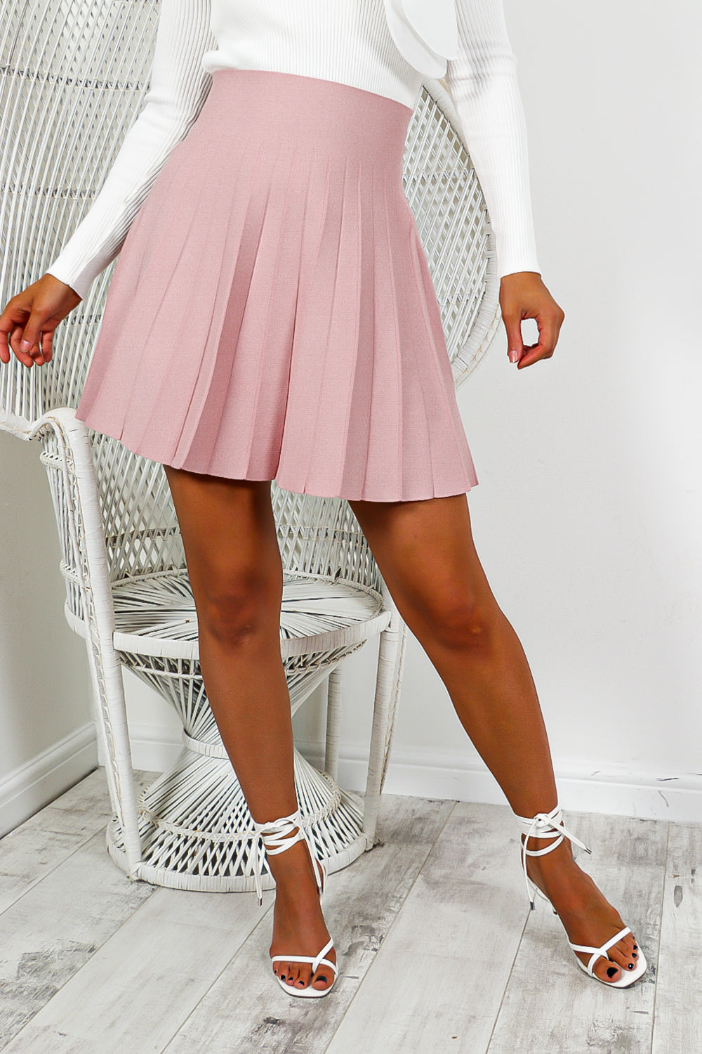 Blush Pink Pleated Mini Skirt