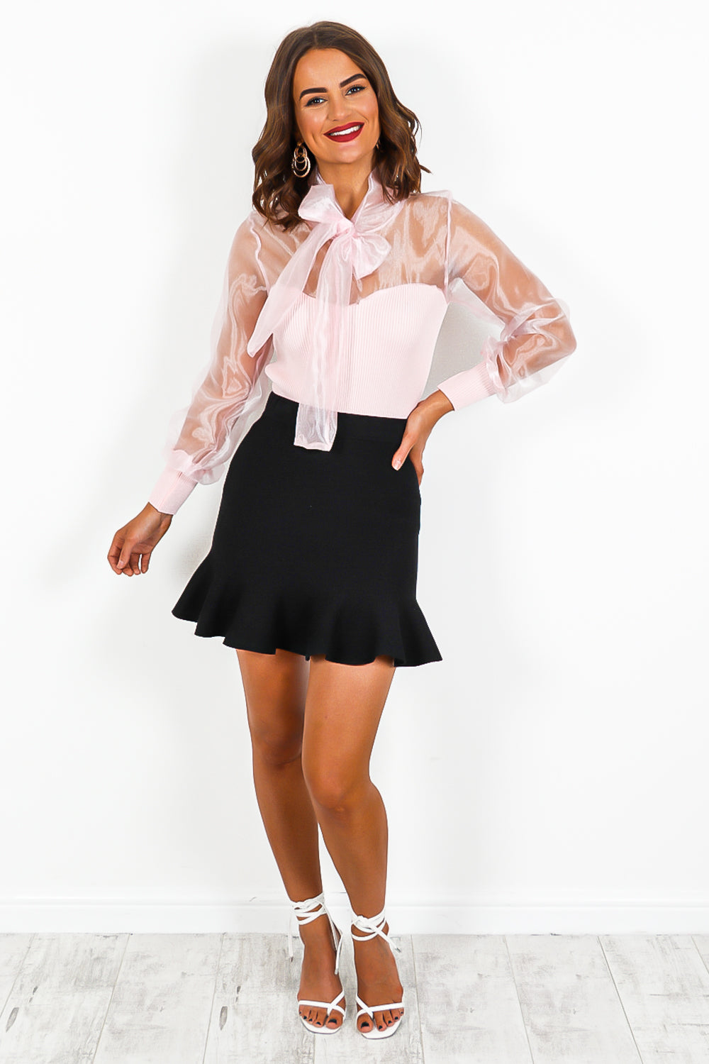 Pink Tie Bow Mesh Knit Jumper