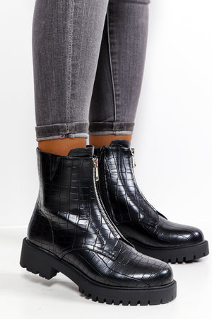 Boot Up - Black Croc Zip Up Boot