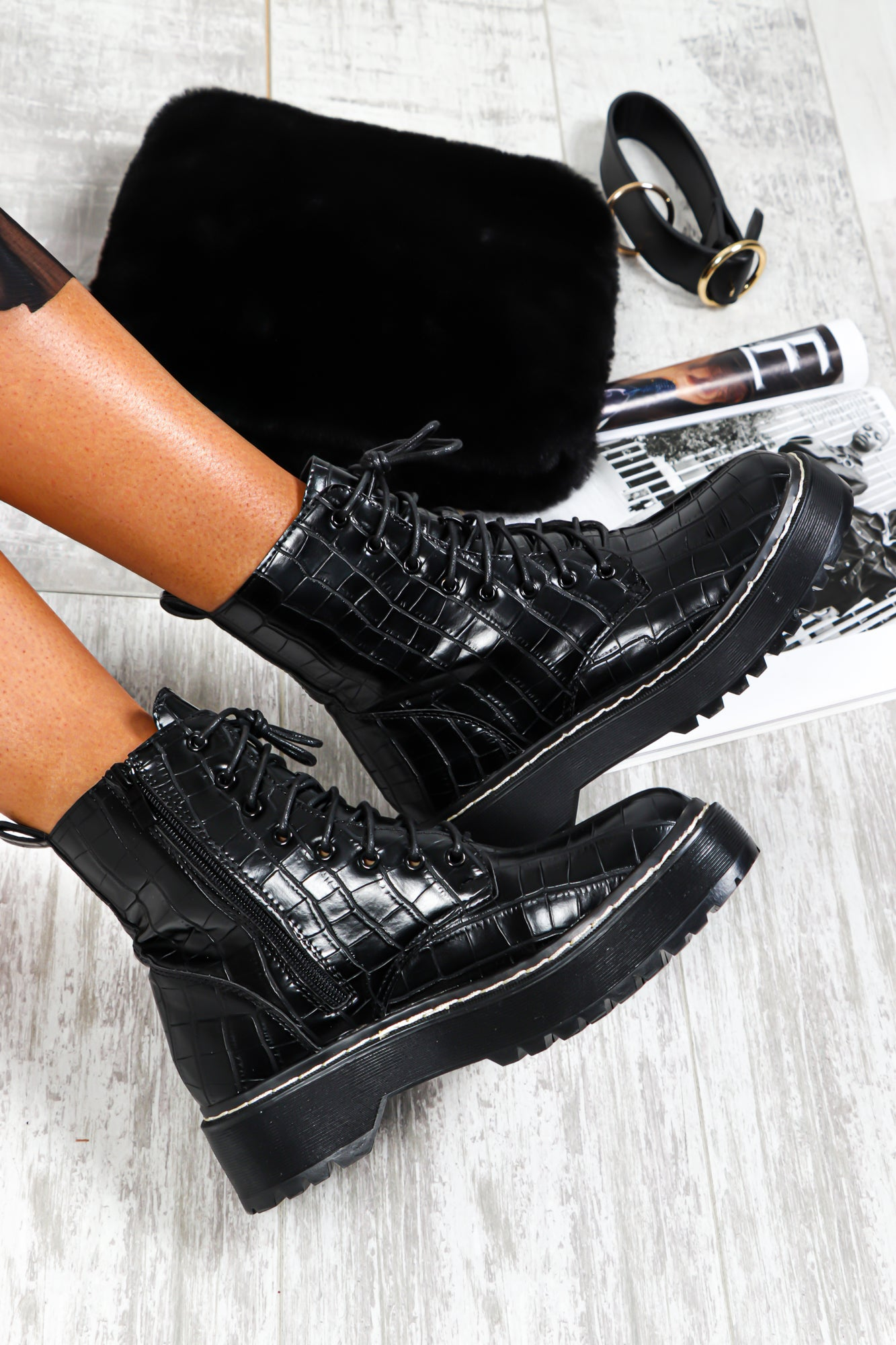 Boot 'Em Up - Boots In BLACK/CROC