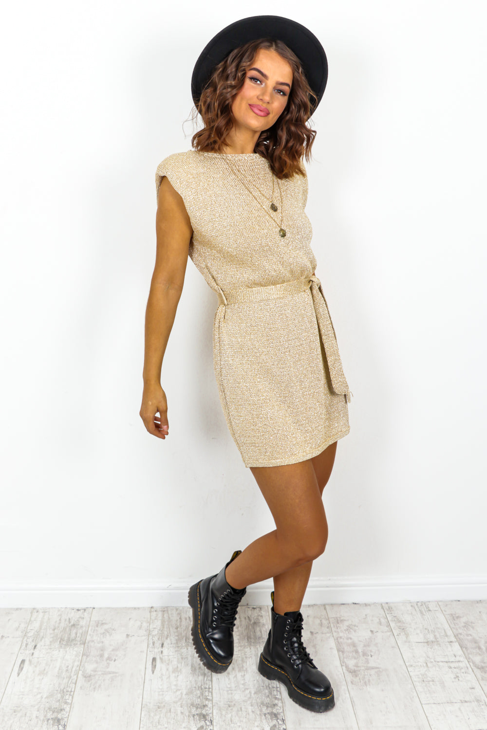 Gold Glitter Knitted Mini Dress