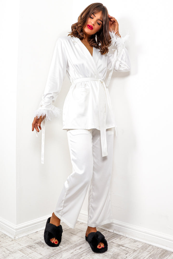 Breakfast At Tiffany's - White Feather Trim Co-ord