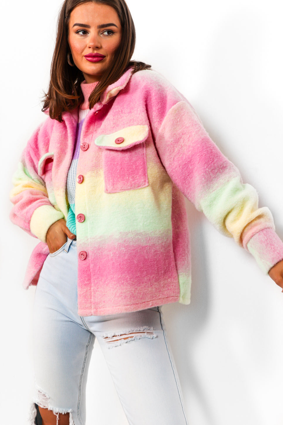 Bright Side - Pink Lime Shacket