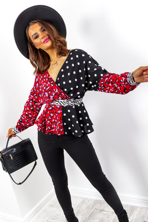 Bring Me To The Wild Side - Black Multi Peplum Top