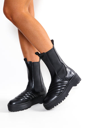 Bring On The Weather - Black Mid Calf Boot