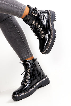 Buckle Standard - Black Croc Pu Boot