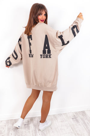 Buffalo City New York - Beige Slogan Jumper Dress