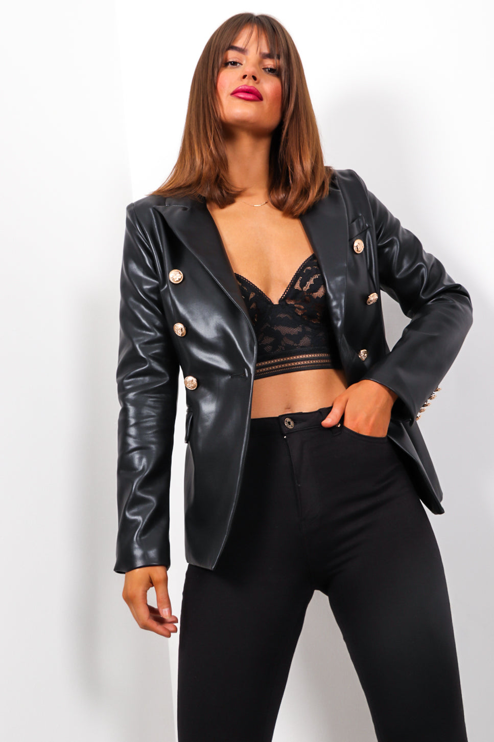 Business And Pleasure - Black Pu Blazer