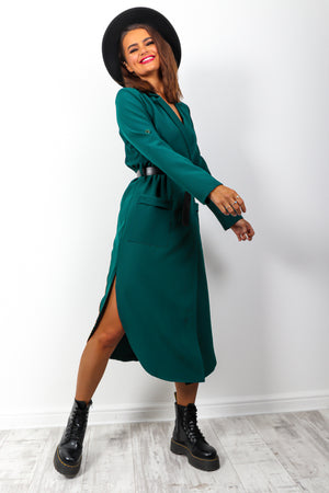 Business Babe - Teal Belted Wrap Dress