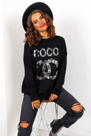 COCO - Black Sequin Slogan Knitted Jumper