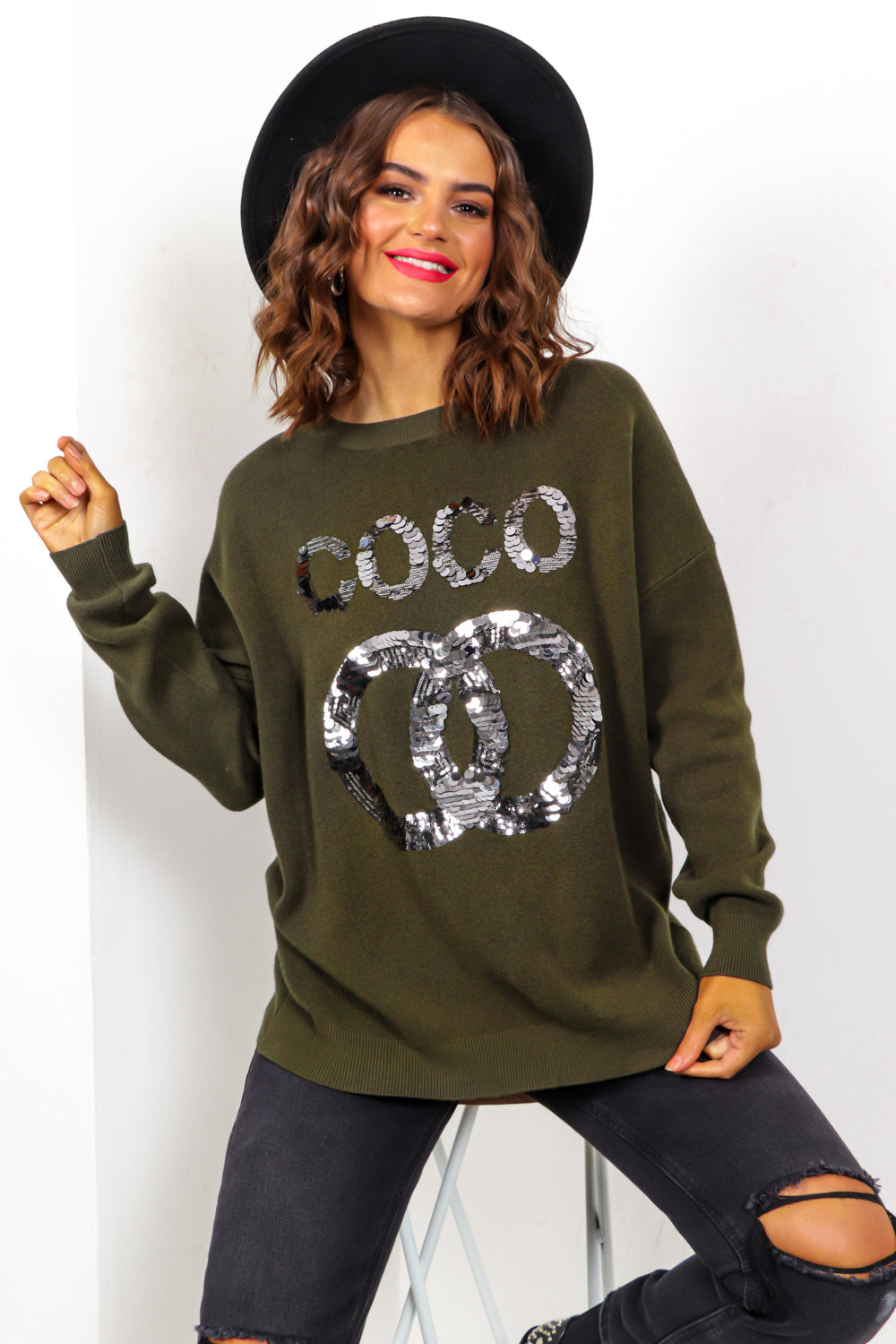 COCO - Khaki Sequin Slogan Knitted Jumper