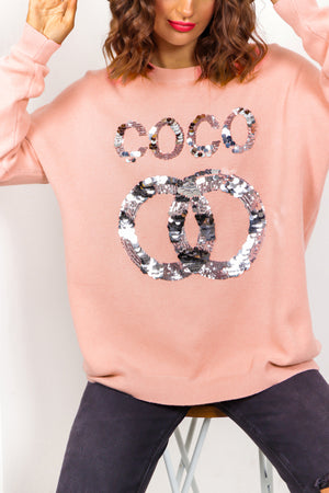 COCO - Pink Sequin Slogan Knitted Jumper
