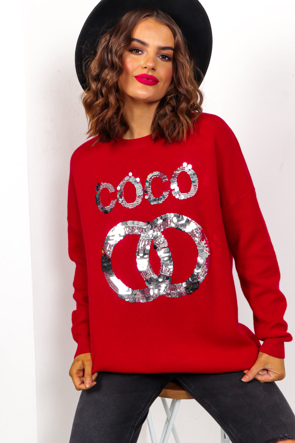 COCO - Red Sequin Slogan Knitted Jumper