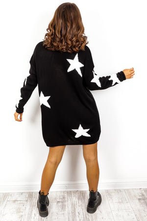 Call It Even - Black White Star Print Roll Neck Dress