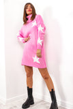 Call It Even - Pink White Star Print Roll Neck Dress