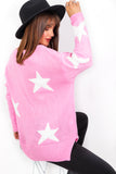 Call Me - Pink White Star Print Knitted Jumper