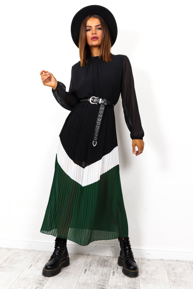 Caught In The Moment - Black Green Pleated Midi Dress