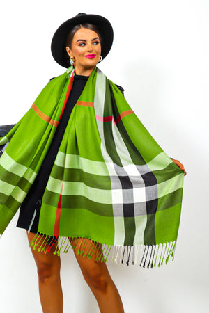 Check It Out - Green Checked Scarf