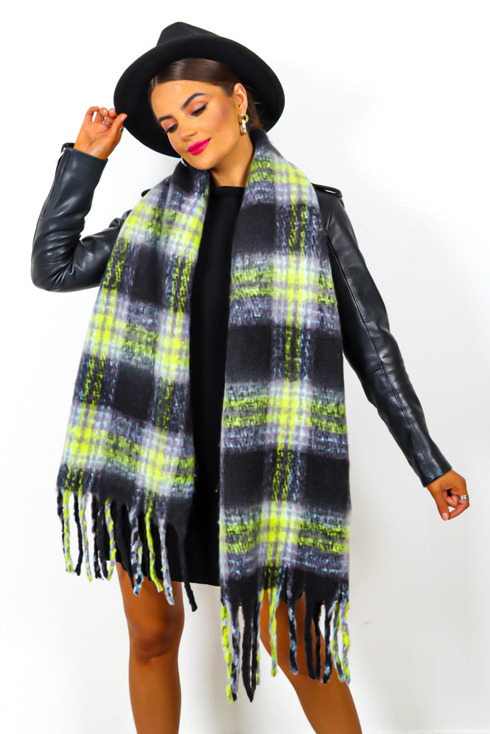 Check Mate - Black Lime Checked Scarf