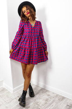 Check Over It - Red Navy Check Smock Dress