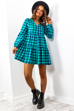 Check Over It - Teal Navy Check Smock Dress