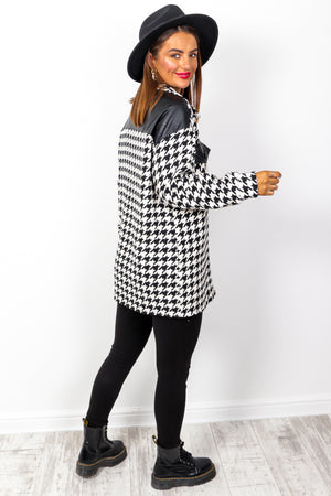 Check Yo Self - Black White Houndstooth Oversized Shacket